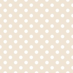 Polka dots on neutral background retro seamless vector pattern