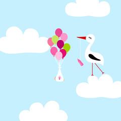 Photo sur Aluminium Ciel Tall Stork On Cloud Baby Girl Flying Balloons Blue
