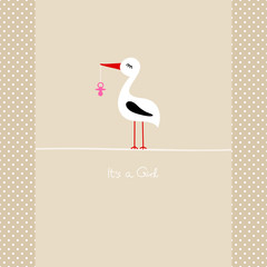 "Tall Stork Pink Pacifier ""It´s a Girl"" Beige Dots"