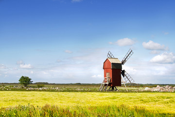 Windmill in a Swedish landscape.