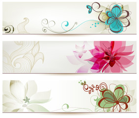Zelfklevend Fotobehang Abstract bloemen Floral banners in retro style