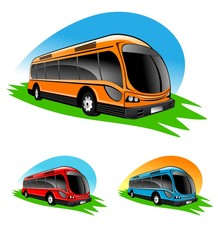 An illustration of different color bus icons