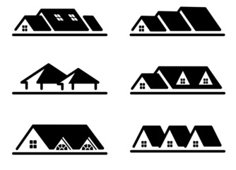 Different home roof icon set