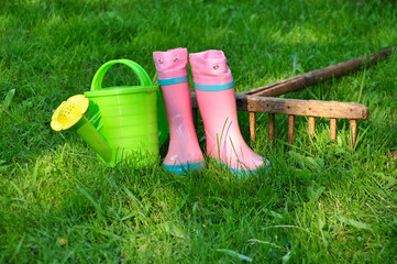 Summer holiday, childish gardening accessory
