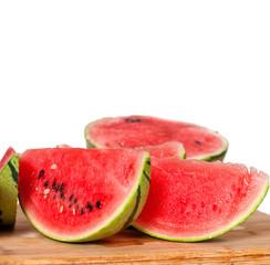 fresh watermelon on a  wood table
