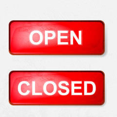 a sign of open and closed in red on a white background
