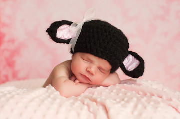 Newborn Baby Girl Wearing a Black Sheep Hat