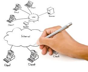 Hand drawing LAN diagram on the whiteboard.