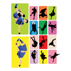 Dancers dance break disco vector figures