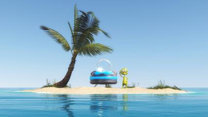 Alien auf einer Insel