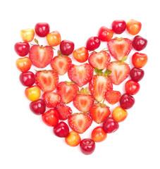 Cherries and strawberries in heart shape