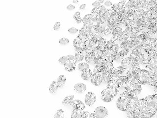 Diamonds on white background with place for your text