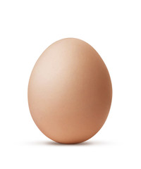 brown egg isolated on white background with clipping path