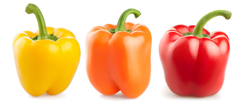 fresh pepper vegetables isolated on white background