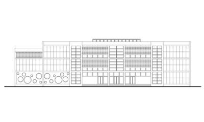 Linear drawing of contemporary school facade