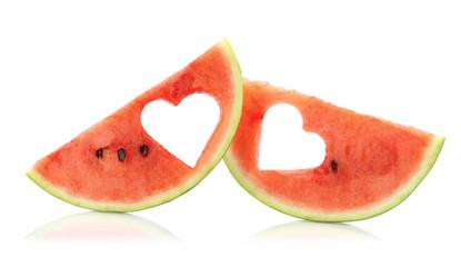 Summer love. Watermelon slices couple