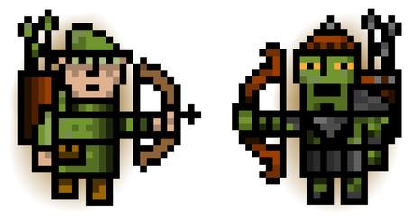 Fotobehang Pixel elf and ork pixel archers