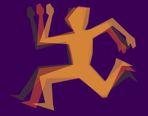 silhouette color man runnig
