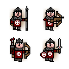 Poster Pixel soldiers from red army