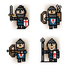 Photo sur Plexiglas Pixel pixel soldiers from blue army