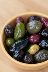 Marinated mixed olives in a bowl
