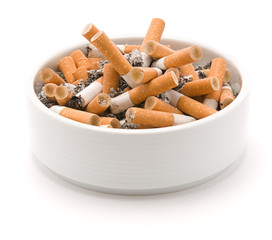 Ashtray full of smoked cigarettes