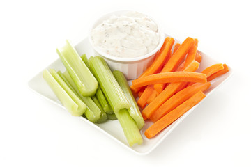 Ranch dressing with carrots and celery