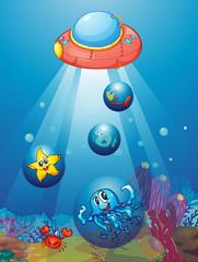 Poster Submarine submarine and fishes