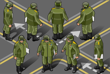 Fotorolgordijn Militair isometric set of military man in eight position