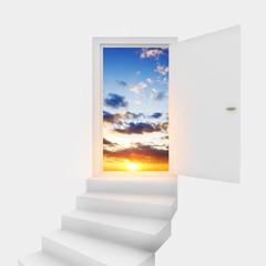 Open door leading to evening  sky.