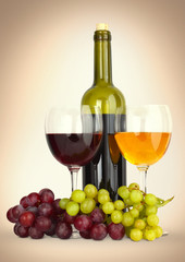 wine in glass with grapes