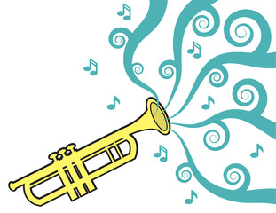Trumpet playing with music flowing