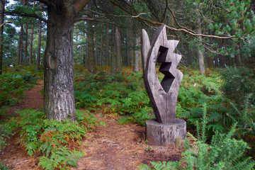 Sculpture on woodland trail at Webbers Post in Exmoor