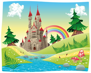 Printed roller blinds Castle Panorama with castle. Cartoon and vector illustration.