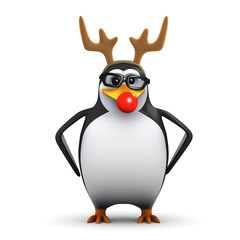 3d Penguin in glasses wears red nose and antlers