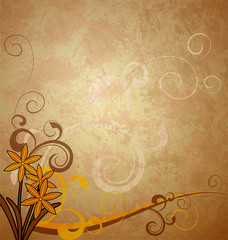 brown vintage background with flowers boho style