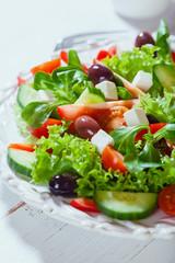 Mediterranean salad with feta and kalamata olives