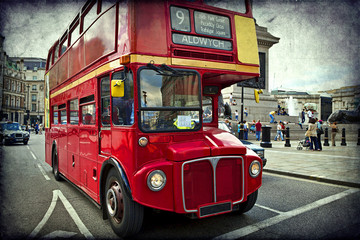 Photo on textile frame London red bus English red bus on the streets of London