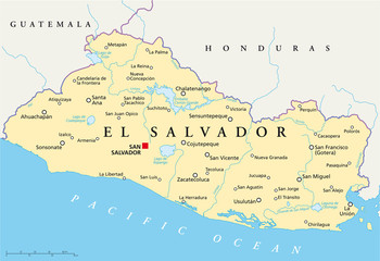 El Salvador political map with capital San Salvador, national borders, most important cities, rivers and lakes. English labeling and scaling. Illustration. Vector.