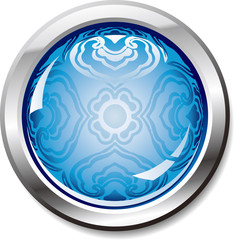 blue shiny button-with a retro cloud pattern