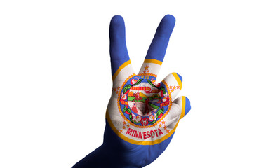 minnesota us state flag two finger up gesture for victory and wi