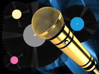 Microphone on abstract background