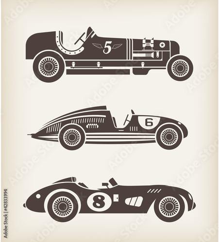 Wall mural Vector vintage sport racing cars