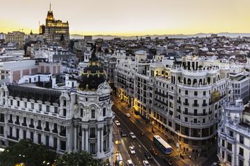 Poster de jardin Madrid Panoramic view of Gran Via, Madrid, Spain.