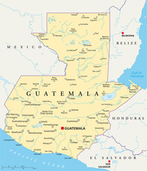 Guatemala political map with capital Guatemala City, national borders, most important cities, rivers and lakes. Illustration with English labeling and scaling. Vector.