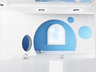 Interior design scene with a creative arch