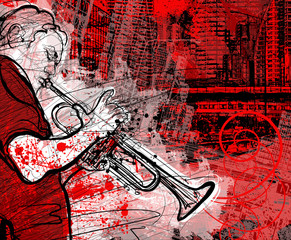 Wall Mural - trumpeter on a grunge cityscape background