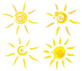 Set of abstract summer suns, vector iillustration