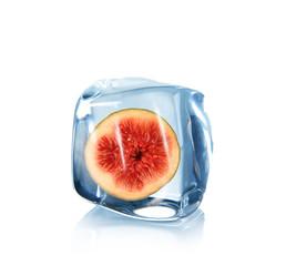 Foto op Canvas In het ijs Fig in ice cube