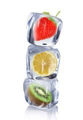 Foto op Canvas In het ijs Fruit in ice cube